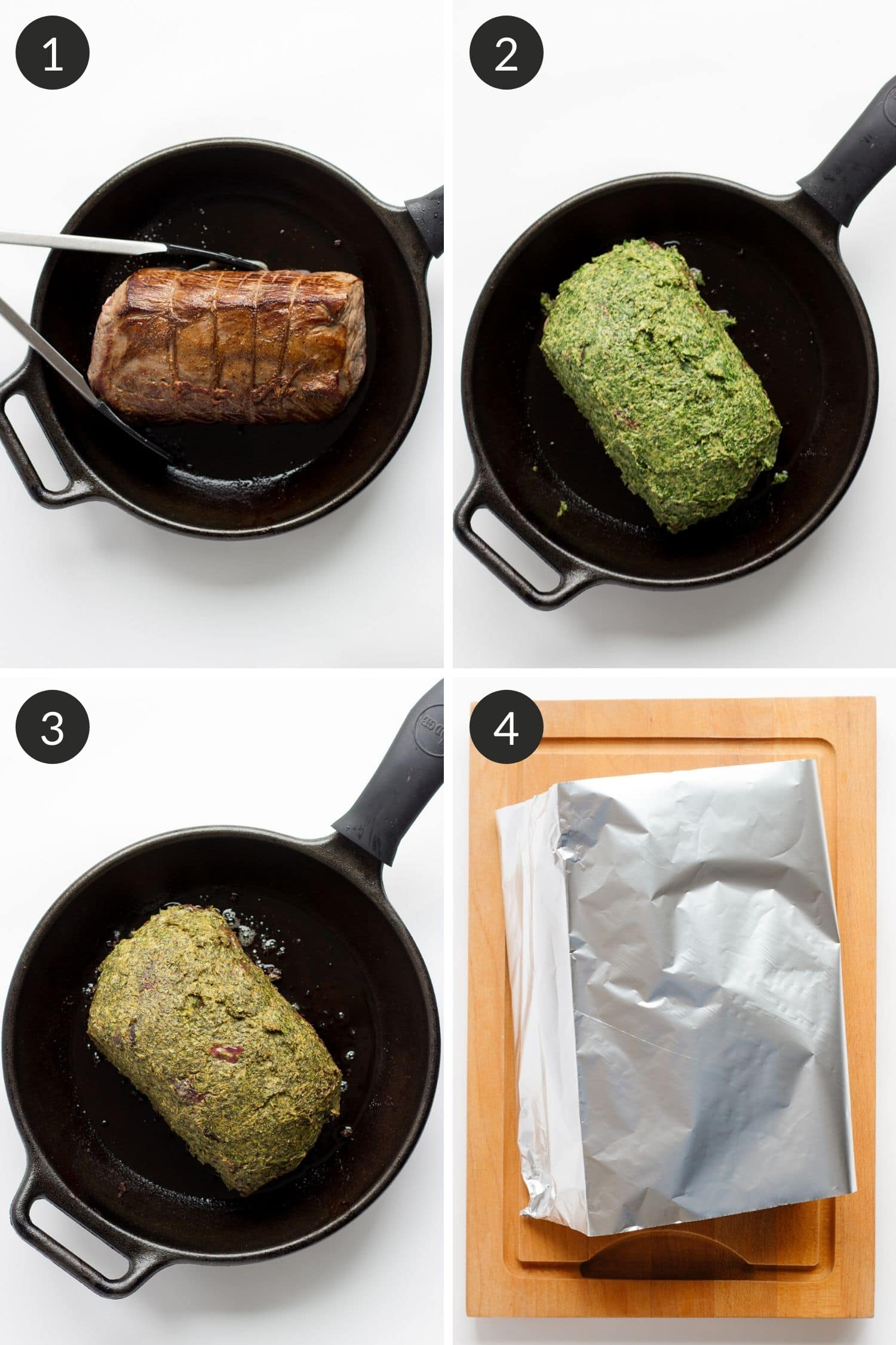 Process photo collage of steps showing how to make herb mustard crusted roast beef