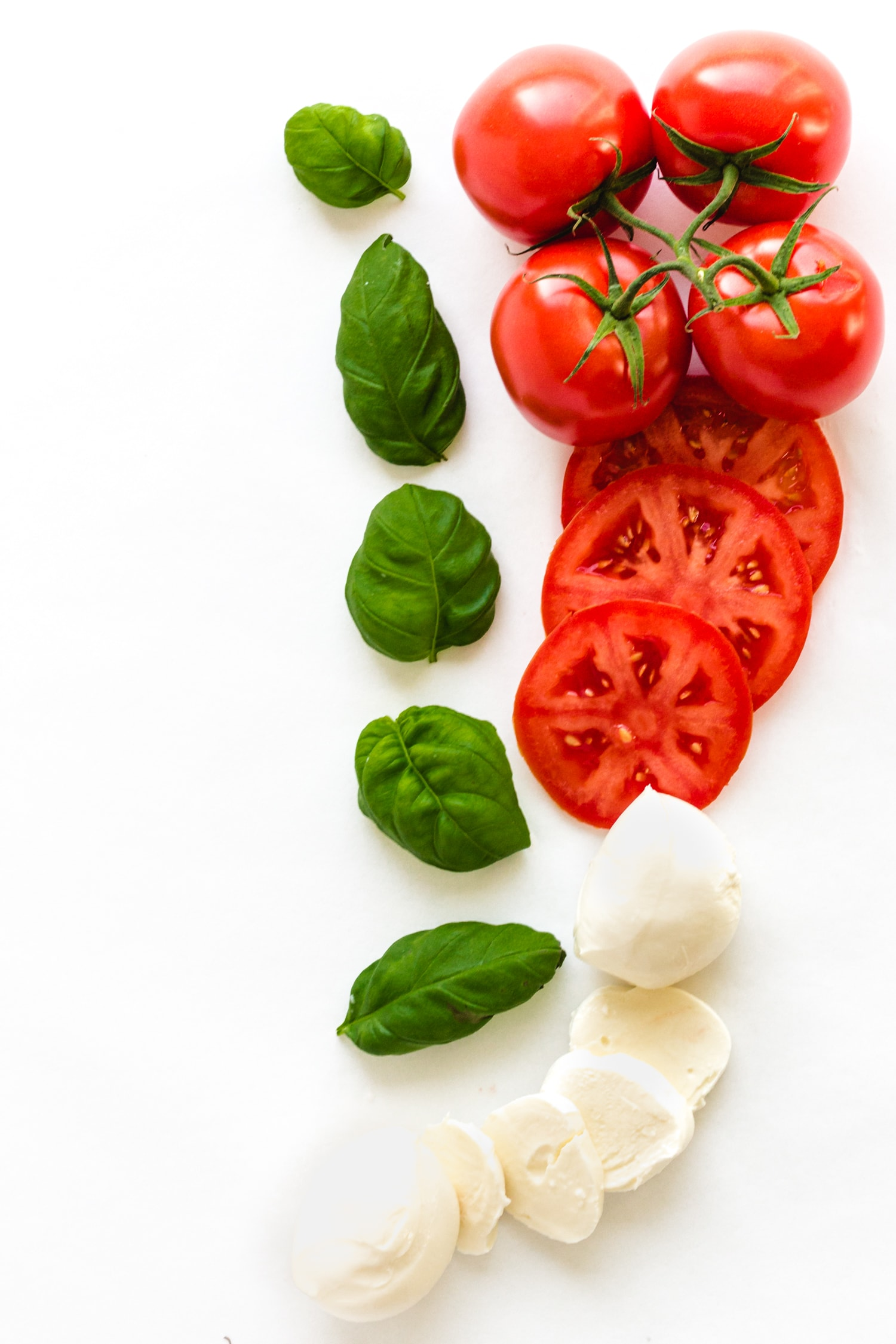 Picture of tomatoes, fresh basil leaves and bocconcini on a white background