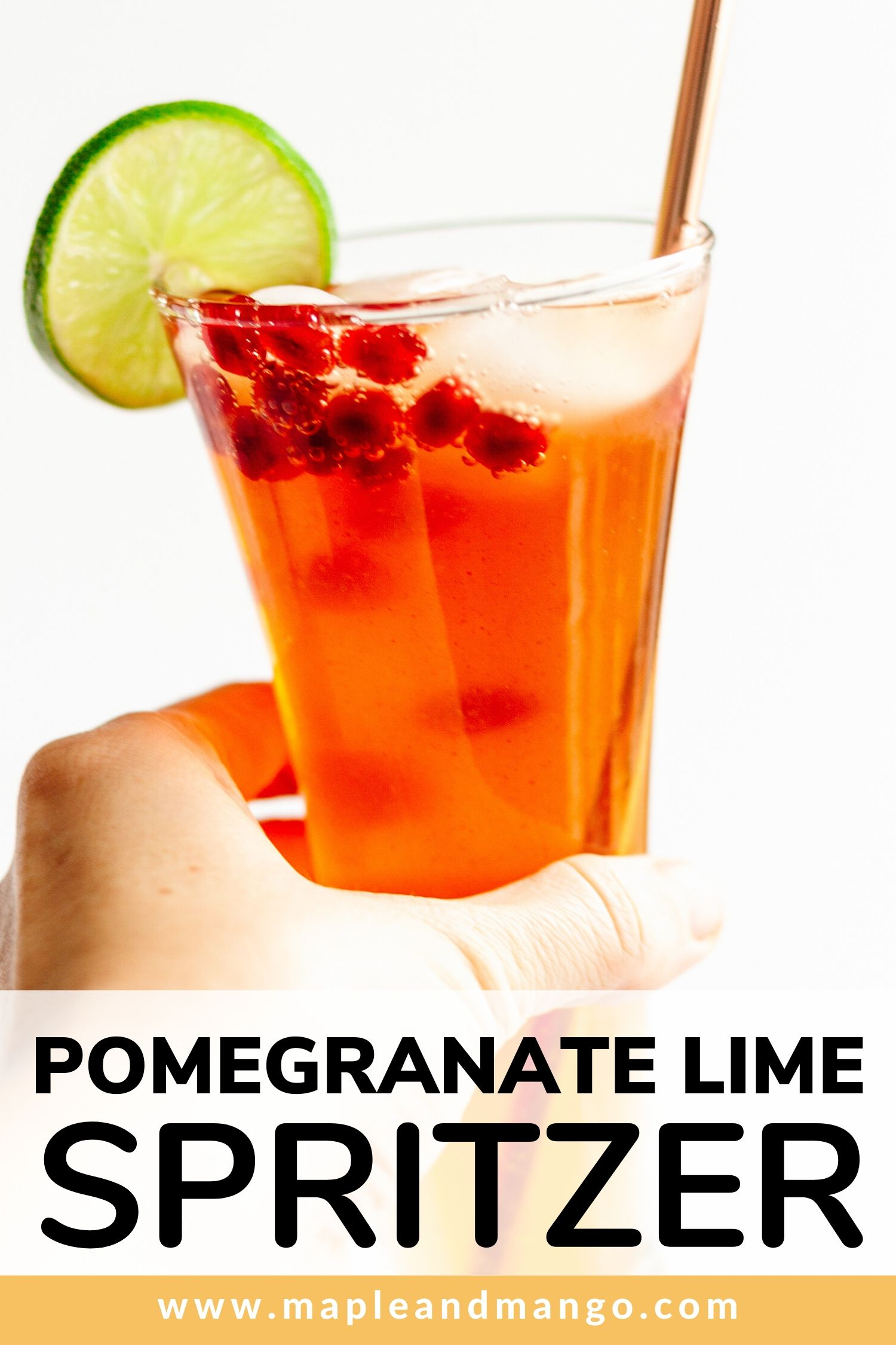 Pinterest image for Pomegranate Lime Spritzer
