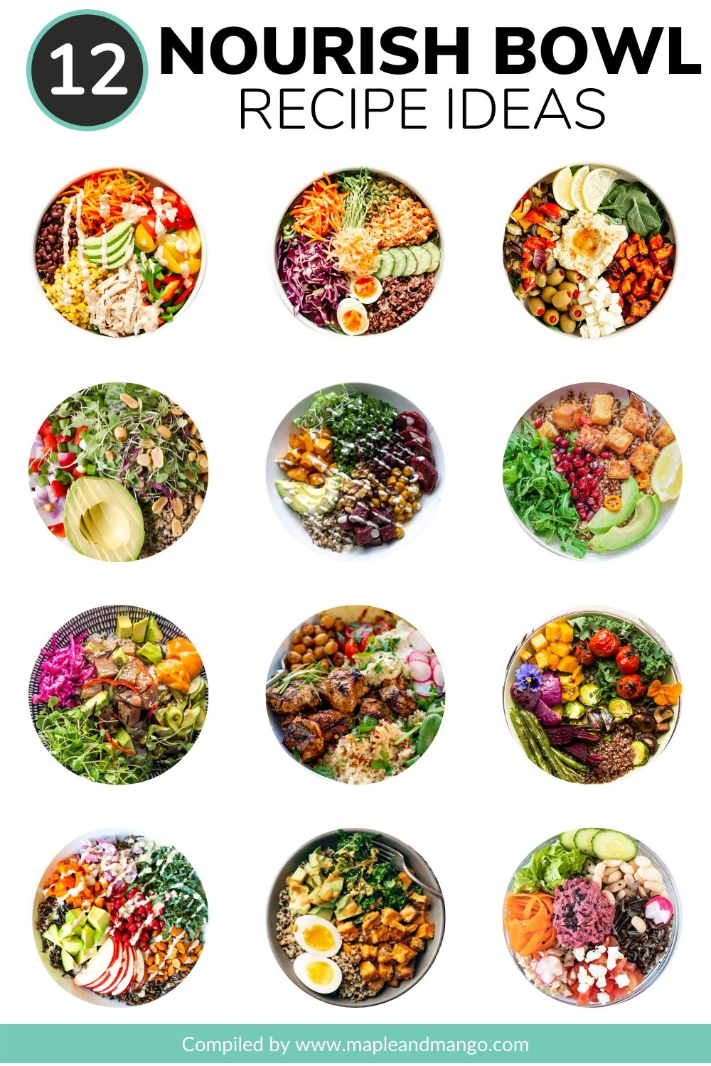 Collage of 12 different healthy nourish bowl recipe ideas.