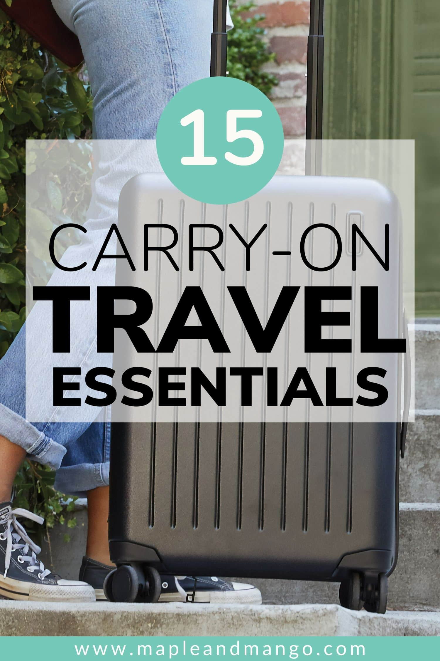 Pinterest image for 15 Carry-On Travel Essentials post
