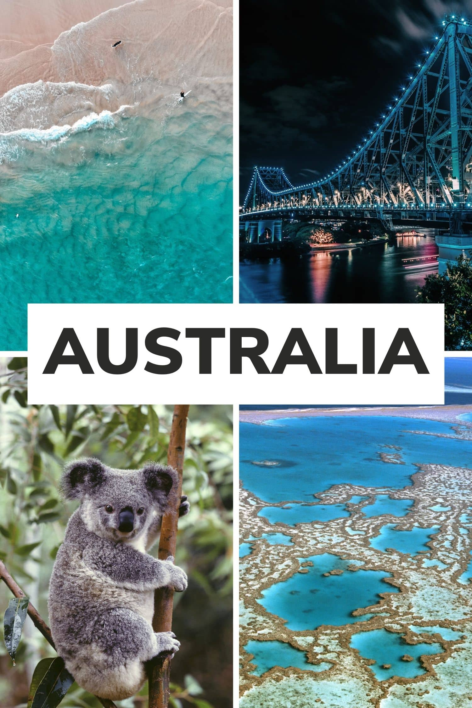 "Collage of four pictures from Australia with text overlay that says ""Australia"""