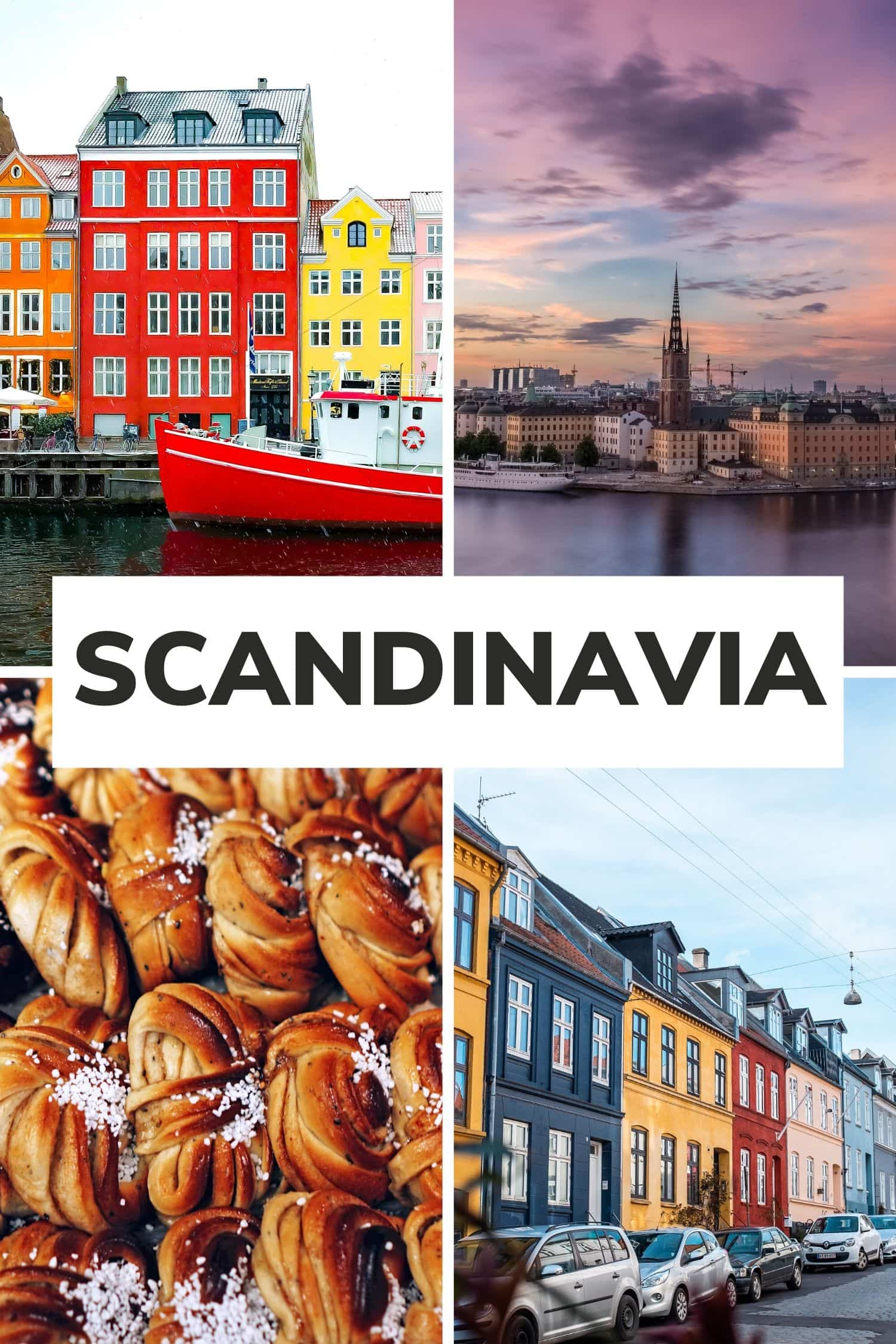"""Collage of four pictures from Sweden and Denmark with text overlay that says """"Scandinavia"""""""