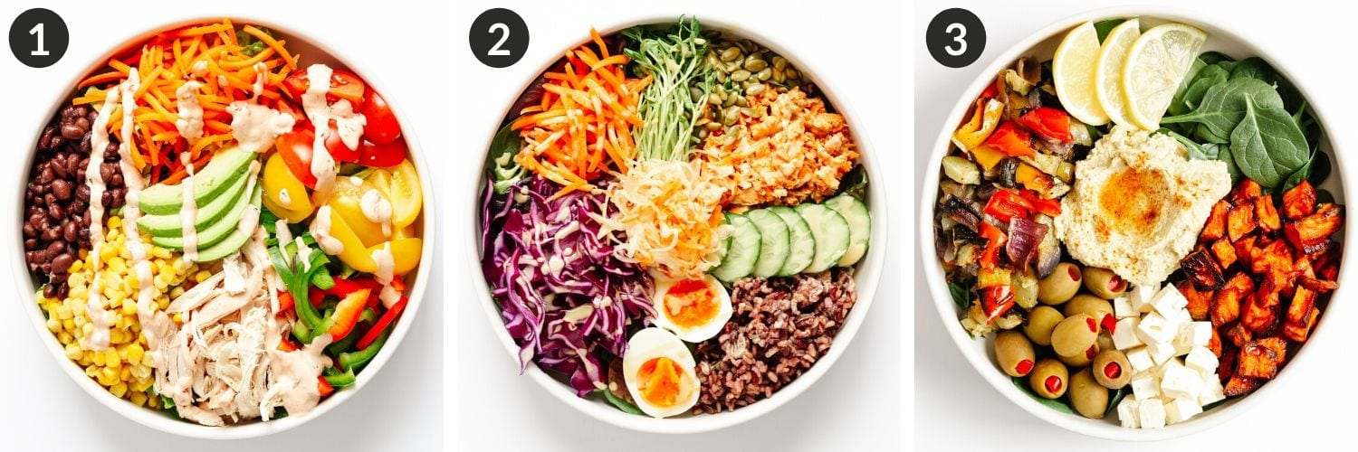 Collage of 3 different healthy bowl ideas.