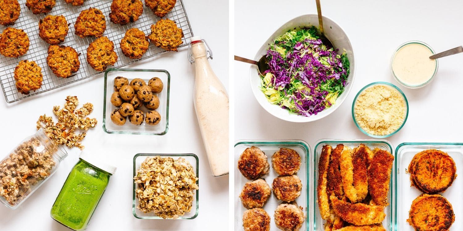 Two photo collage of a weekly healthy meal prep.