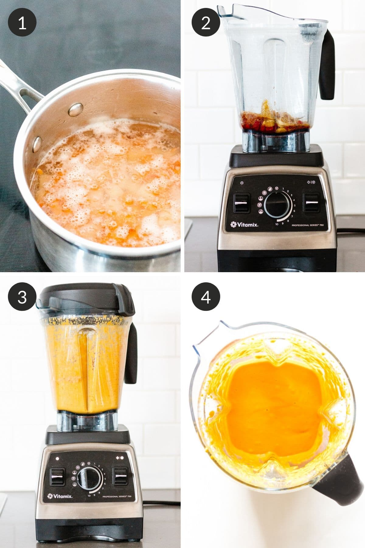 Collage of step by step pictures showing how to make vegan nacho cheese sauce.