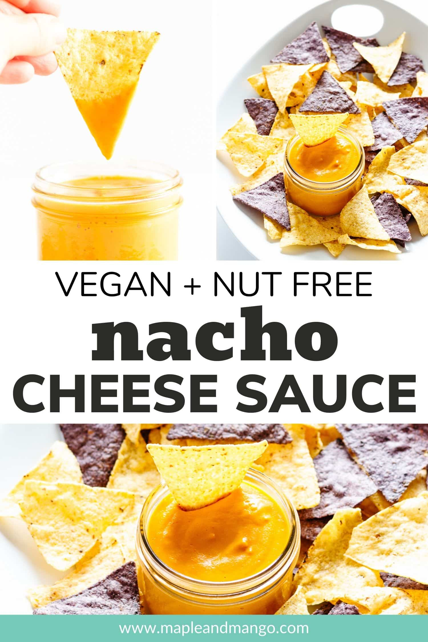 Pinterest image for Vegan + Nut Free Nacho Cheese Sauce recipe