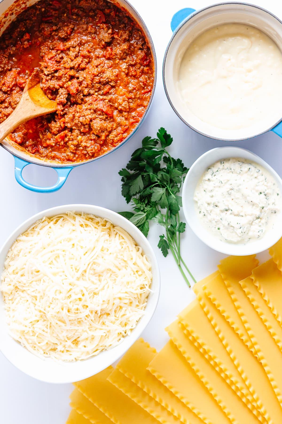 Ingredients needed to make lasagna