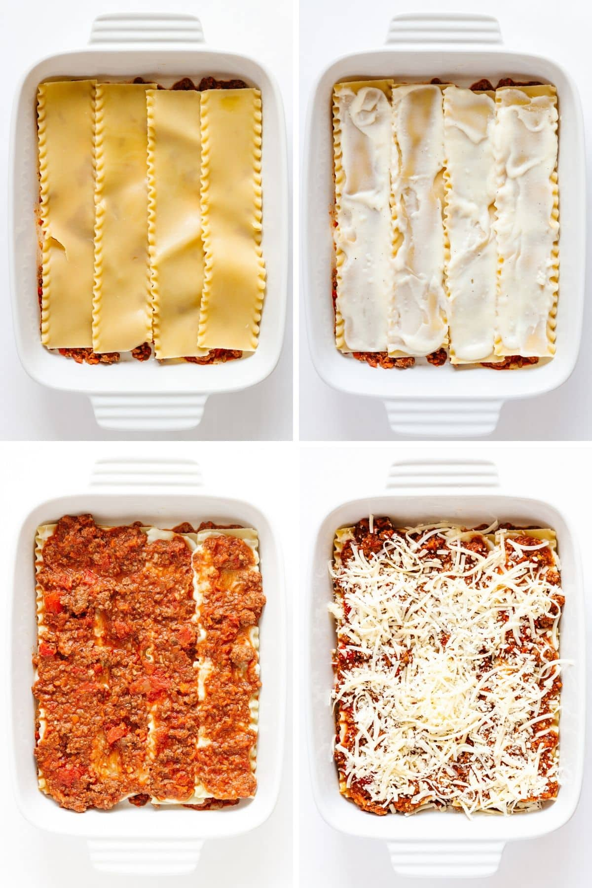 Collage of photos showing the steps in the first layer of lasagna assembly.