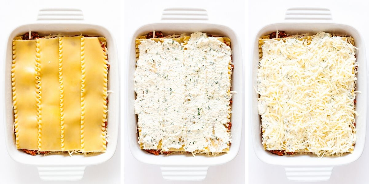 Collage of photos showing the steps in the second layer of lasagna assembly.
