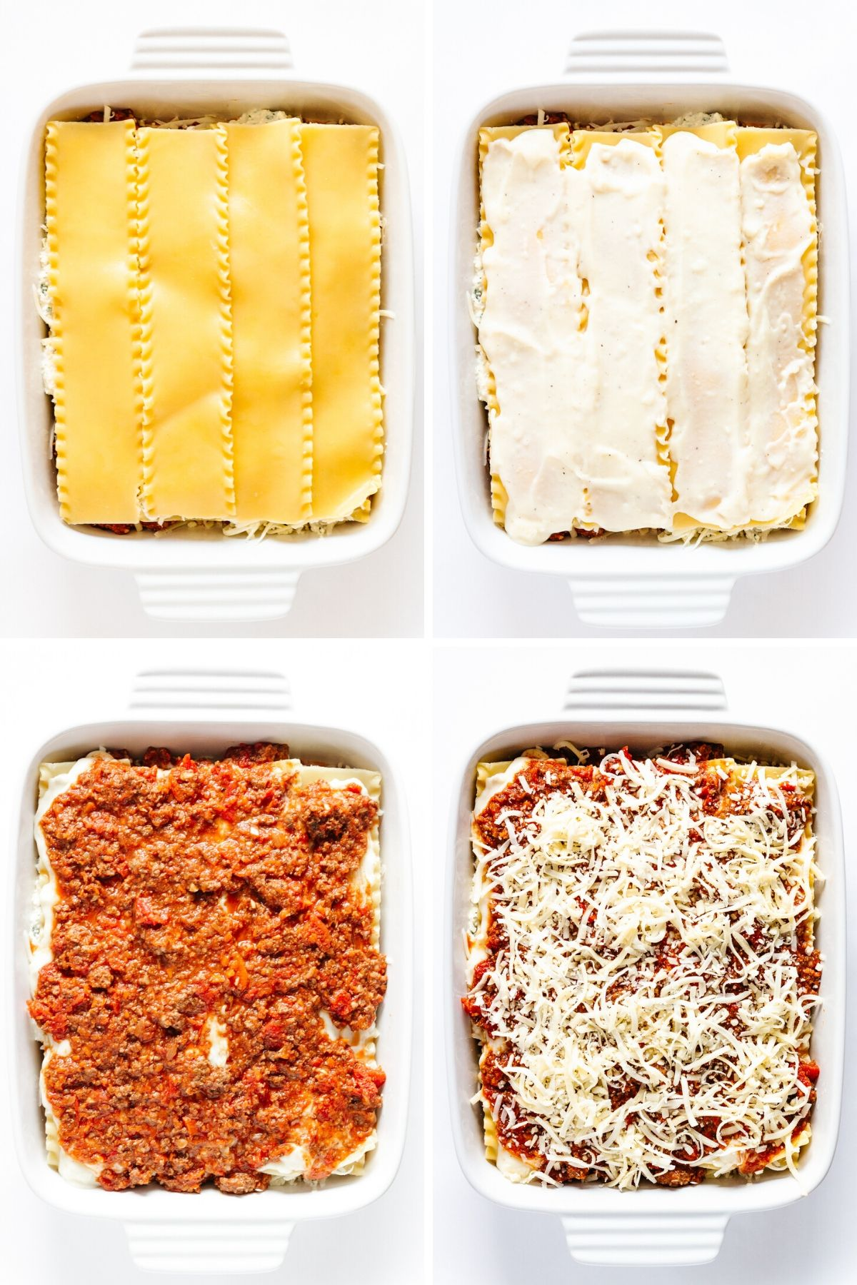 Collage of photos showing the steps in the third layer of lasagna assembly.