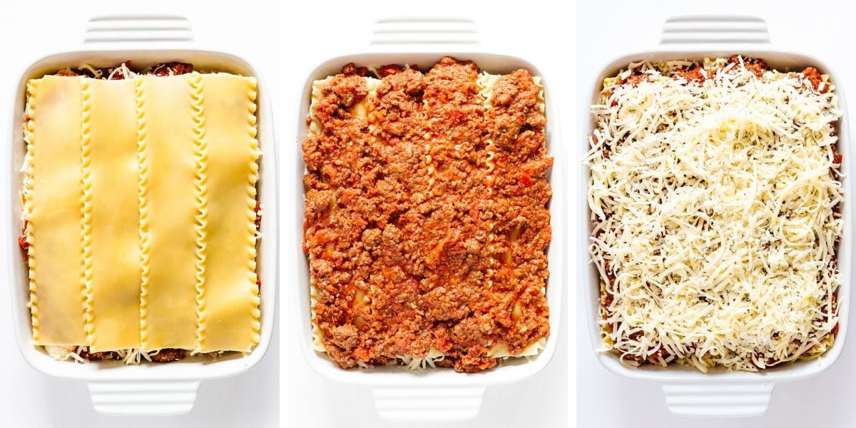 Collage of photos showing the steps in the fourth layer of lasagna assembly.