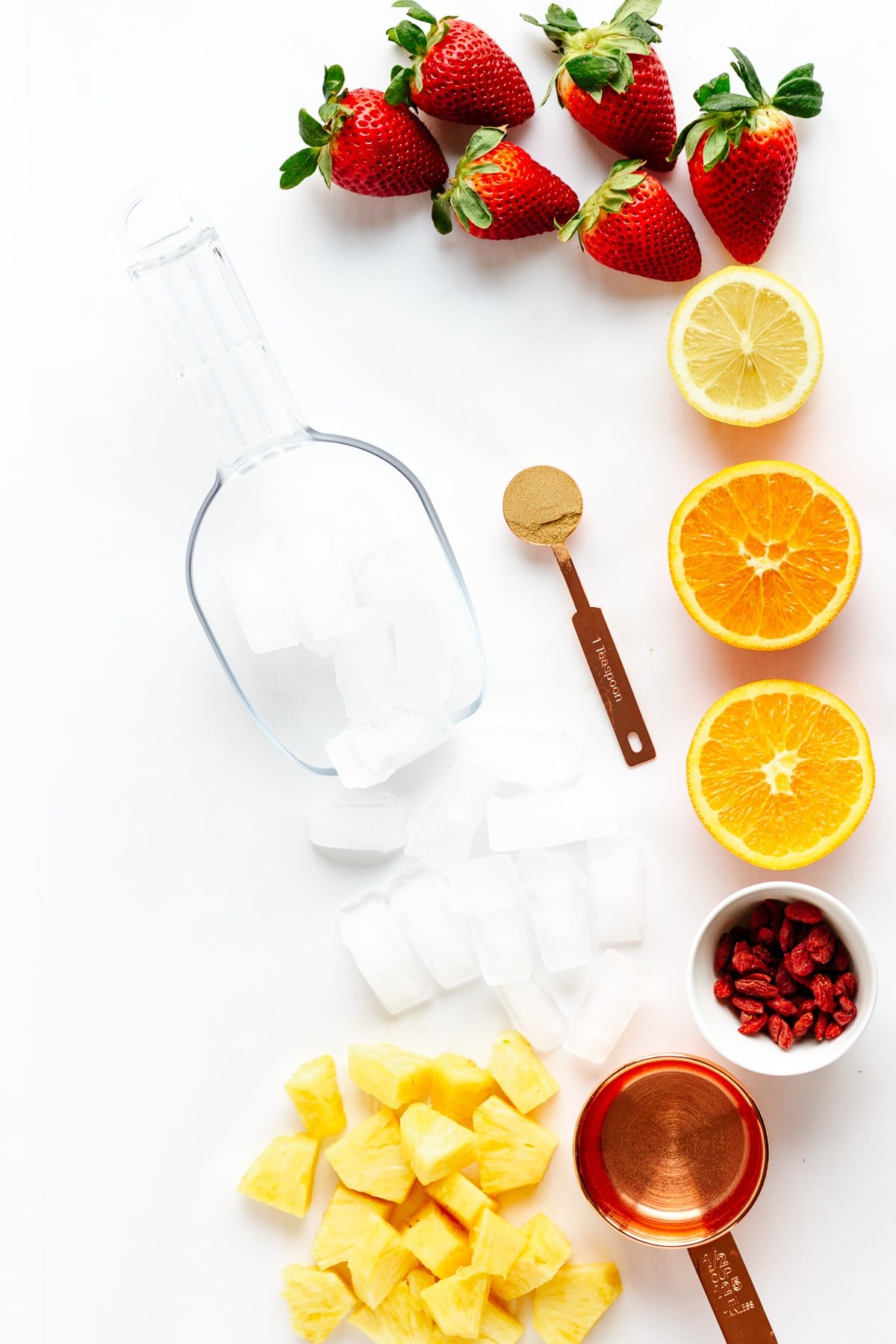 Overhead photo of all the ingredients needed to make the Vitamin C Powerhouse Smoothie recipe.