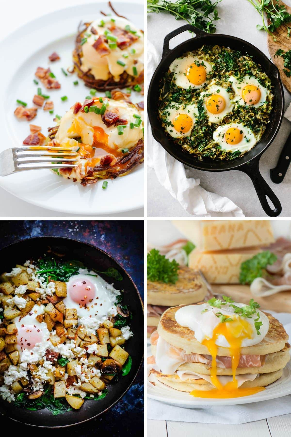 Collage of four brunch recipes featuring eggs.
