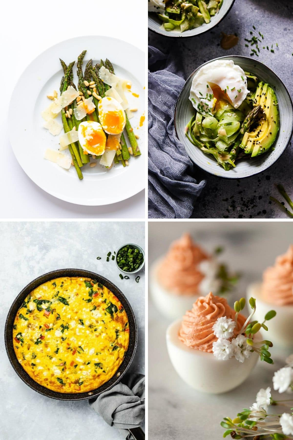 Collage of four brunch recipes that feature eggs.