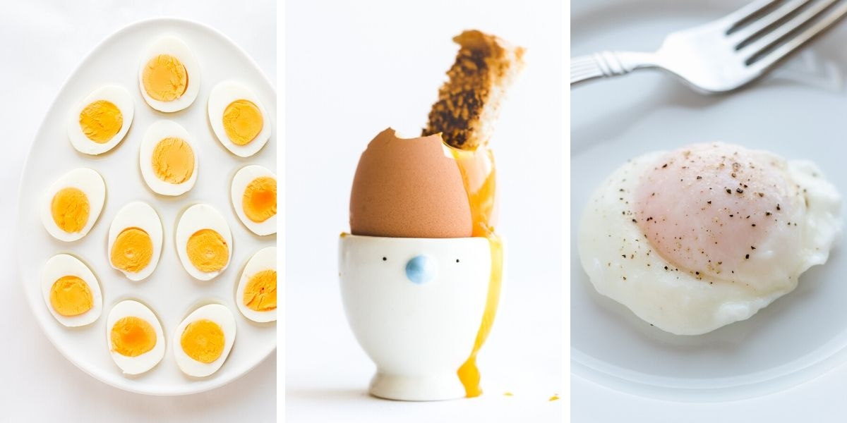 Collage of three photos showing hard boiled eggs, soft boiled egg and poached egg.