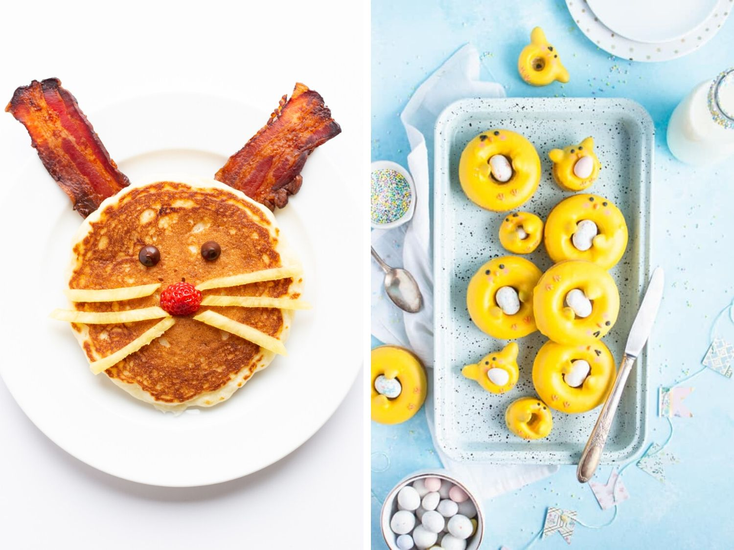 Collage of two photos showing an Easter bunny pancake and tray of yellow chick doughnuts.