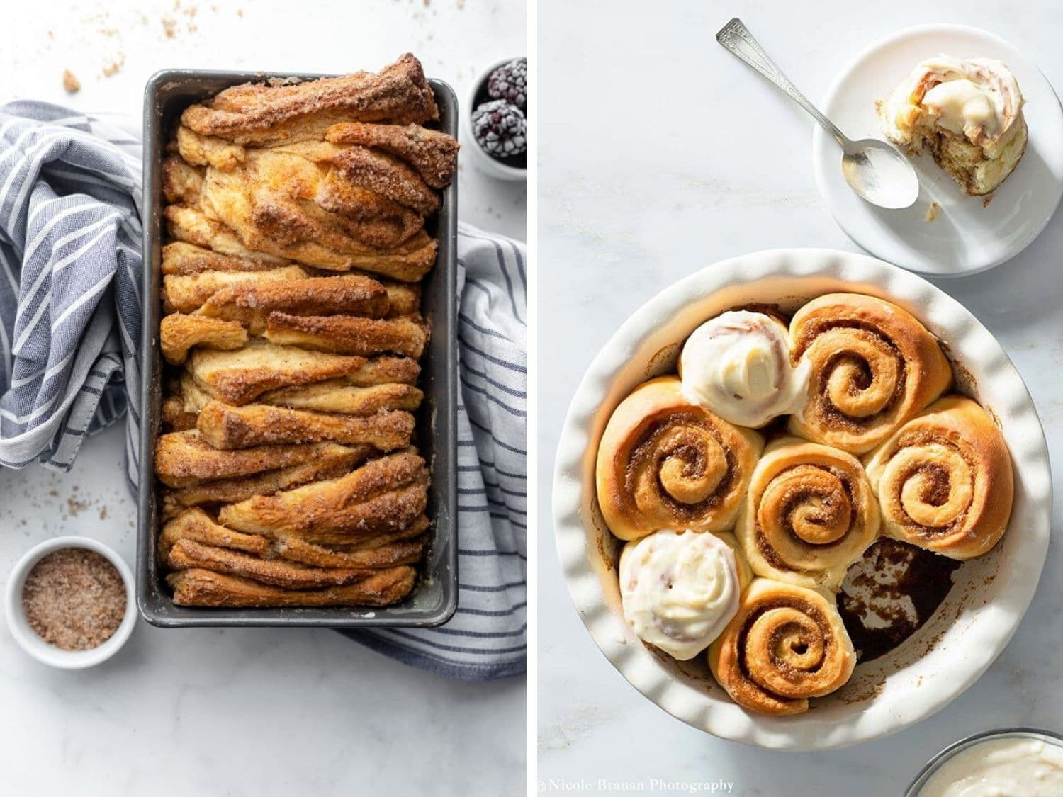 Collage of two baked treats for brunch.
