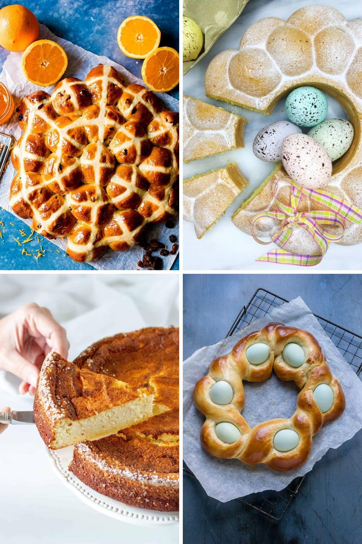 Collage of four types of baked goods that could be served at Easter brunch.