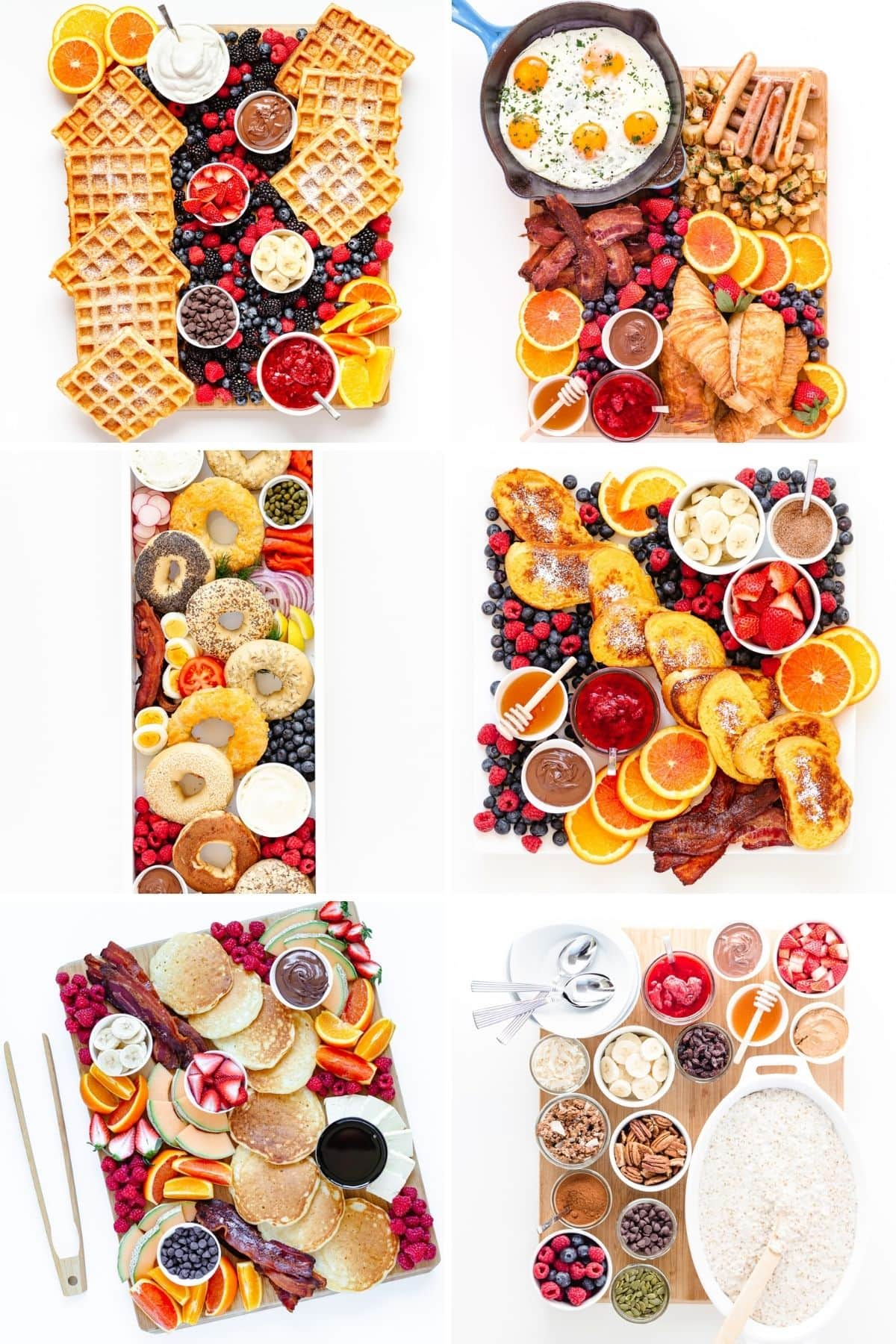 Collage of six different brunch board ideas.