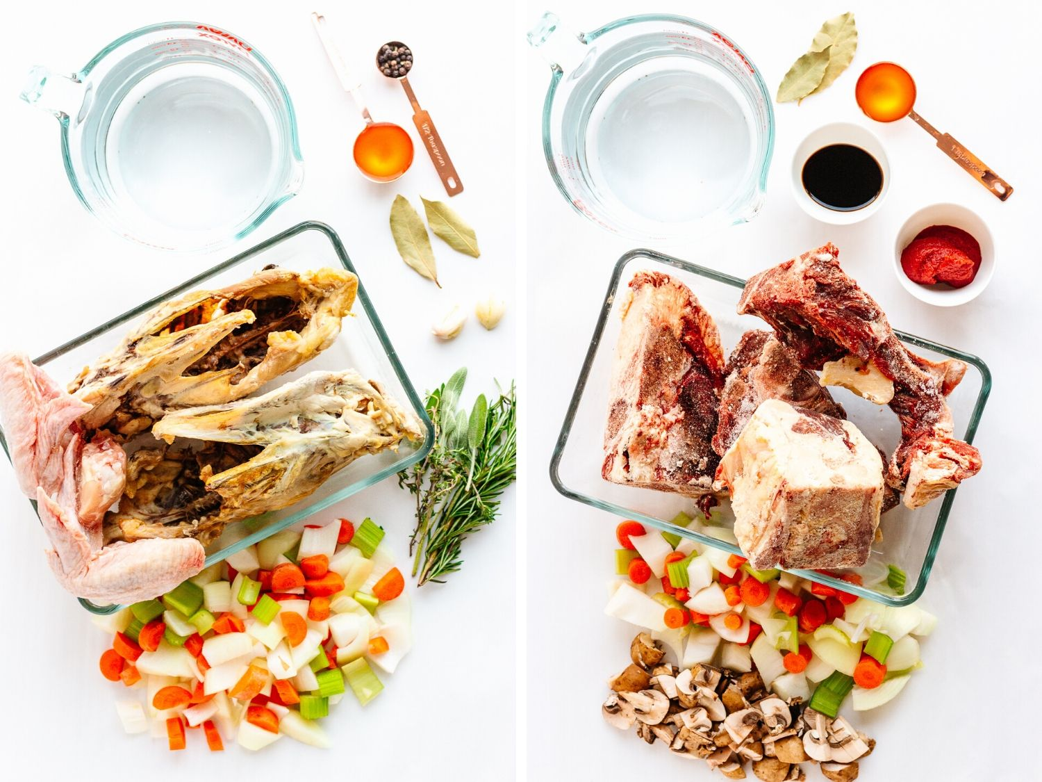 Collage of two photos showing ingredients used for chicken and beef bone broth.