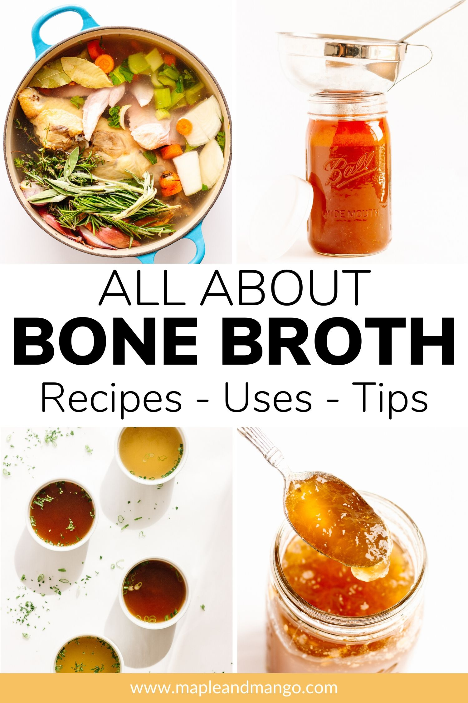 Collage of bone broth photos with text overlay for Pinterest.