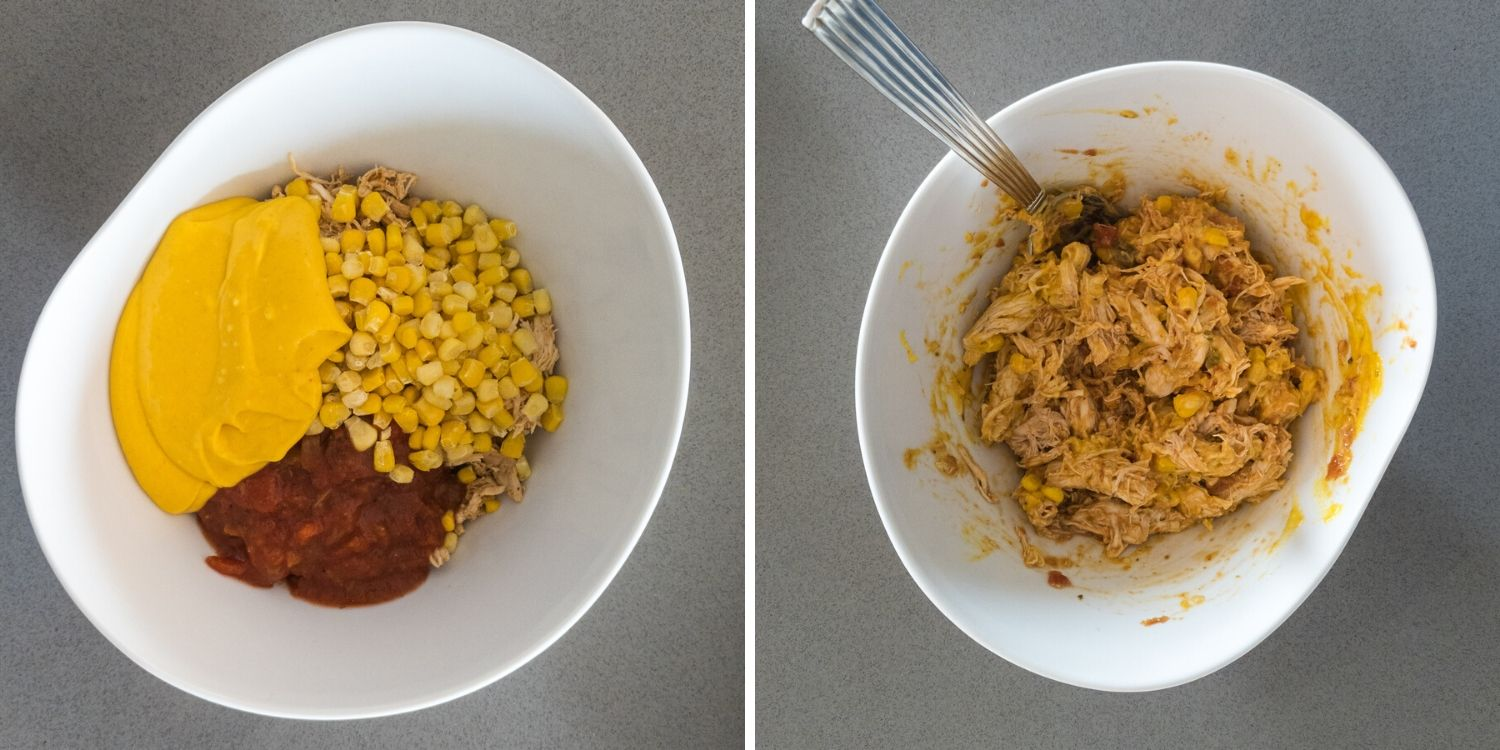 Photo collage showing chicken enchilada mixture in a white bowl before and after being combined with a spoon.