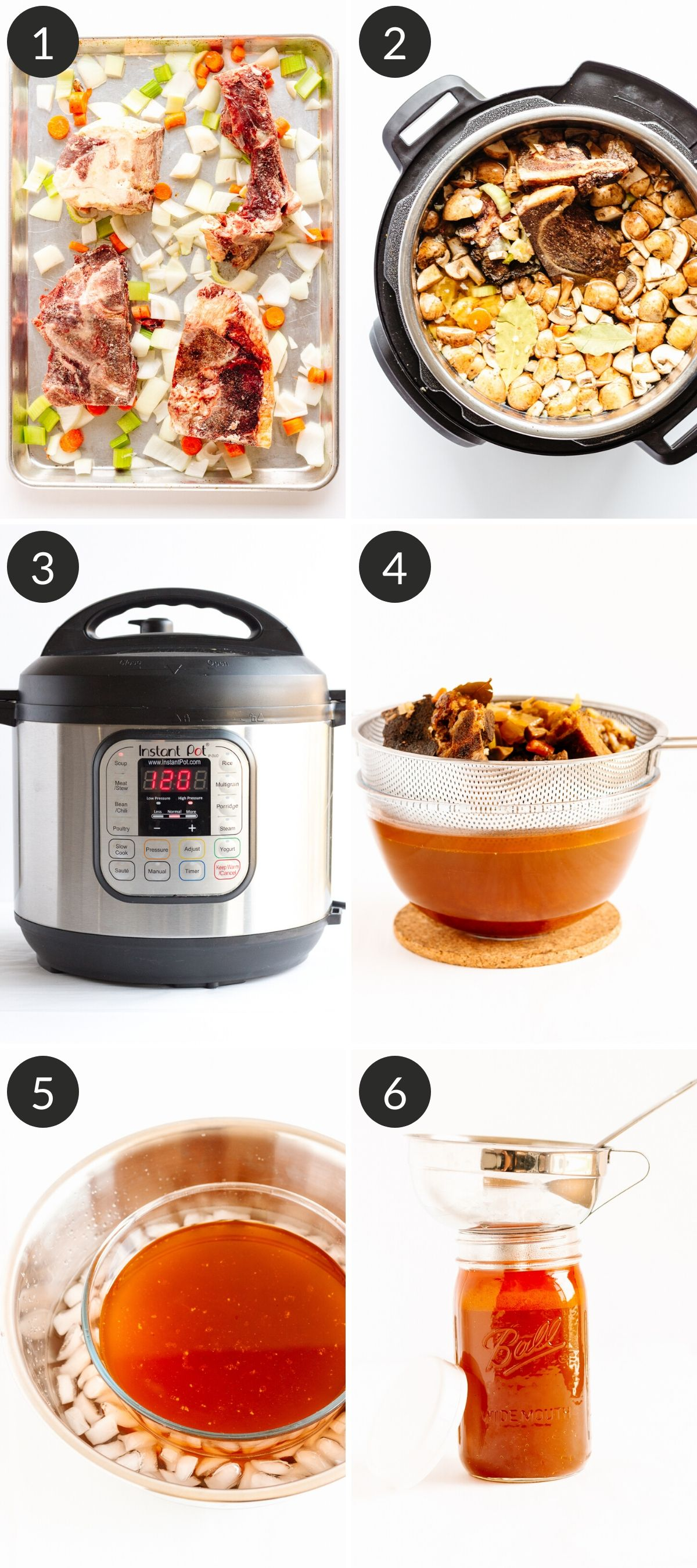 Photo collage showing step by step details of making beef bone broth or stock in the Instant Pot.