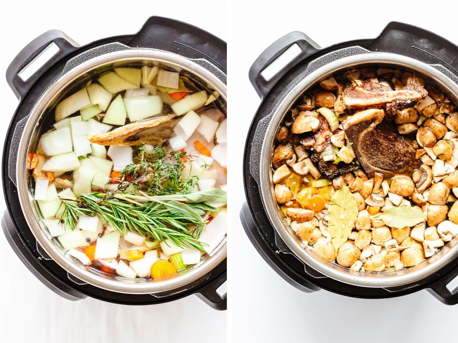 Overhead shot of two Instant Pots filled with ingredients to make chicken and beef bone broth.