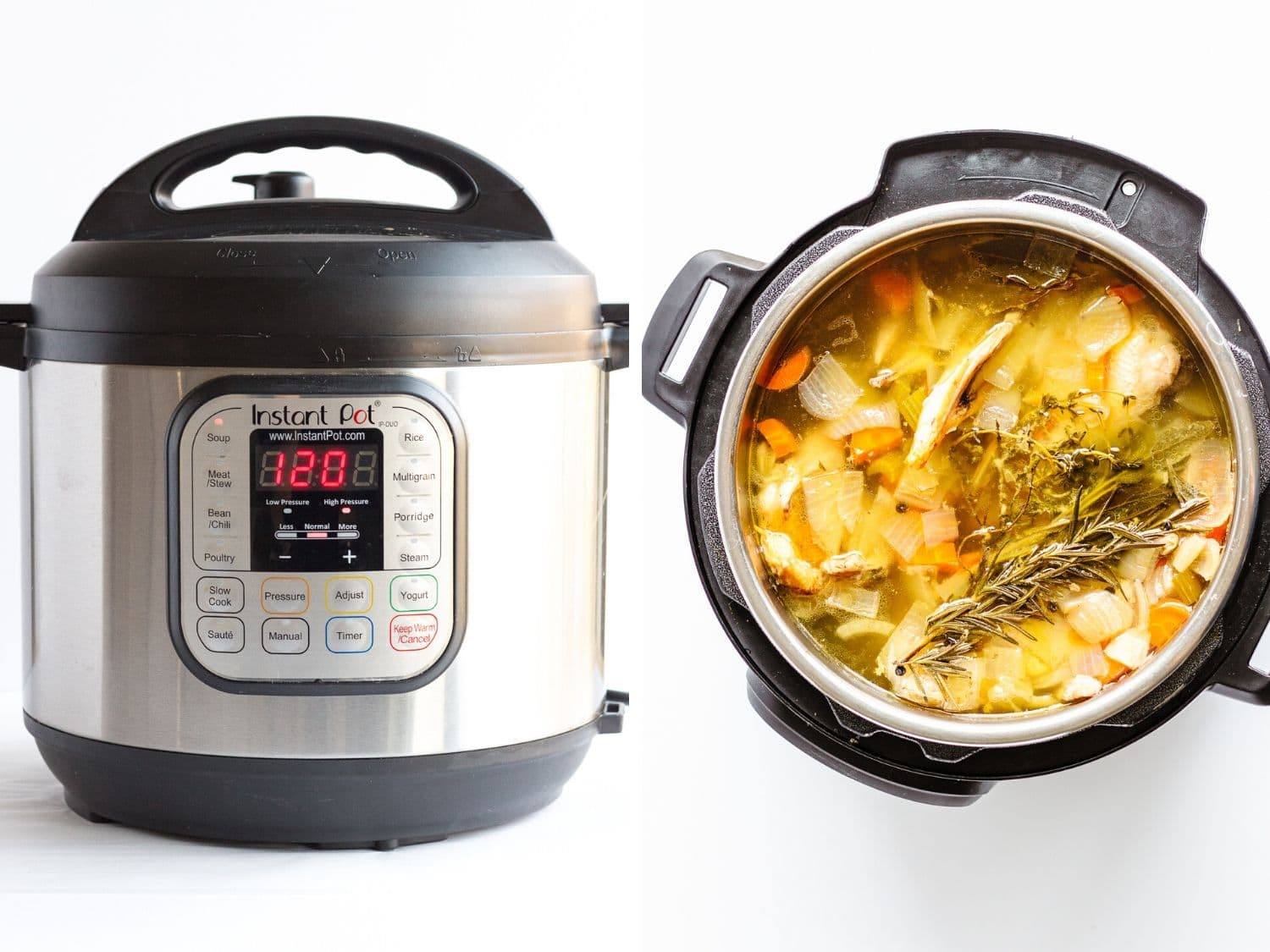 Collage of two photos showing an Instant Pot and the finished chicken bone broth (stock) inside.