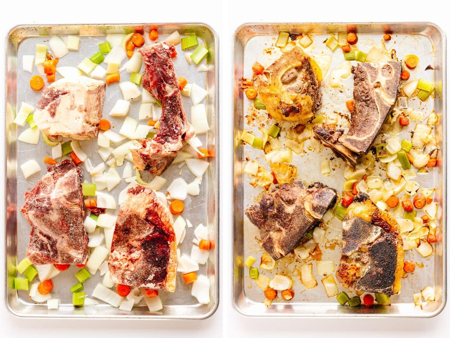 Collage of two photos showing baking sheet of beef bones, chopped onions, carrots and celery before and after roasting.