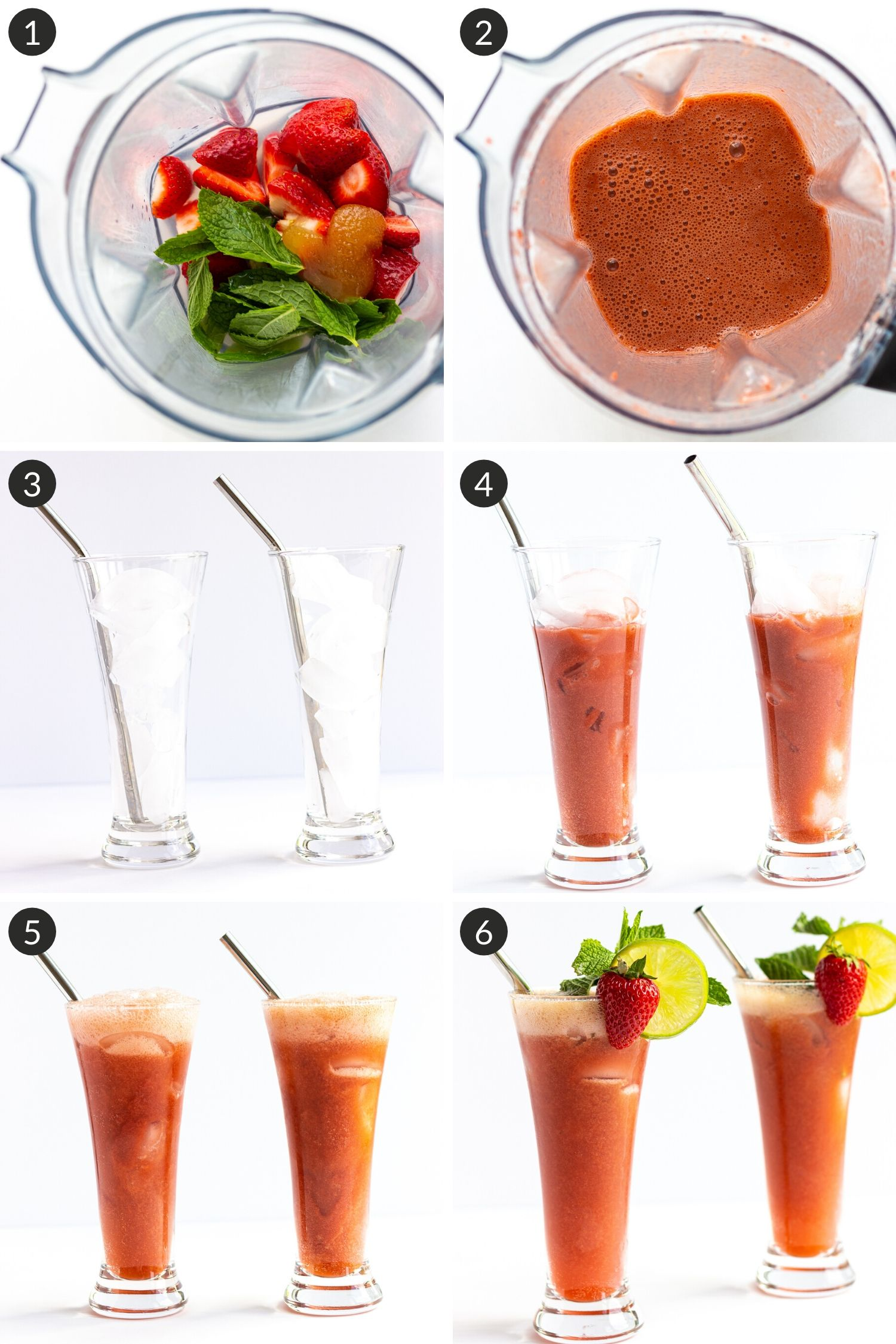 Collage of photos showing how to make Strawberry Mojito Mocktails