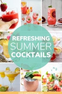 """Collage of cocktail photos with text overlay """"Refreshing Summer Cocktails"""""""