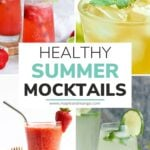 "Collage of four drinks with text overlay ""Healthy Summer Mocktails""."