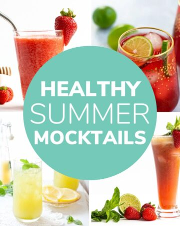 """Collage of four drinks with text overlay """"Healthy Summer Mocktails""""."""