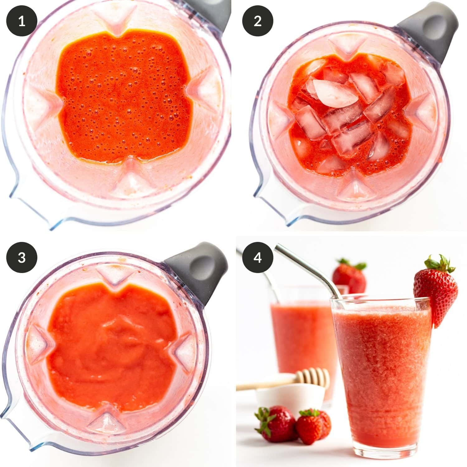 Collage of photos showing step by step process for healthy homemade strawberry slushies.