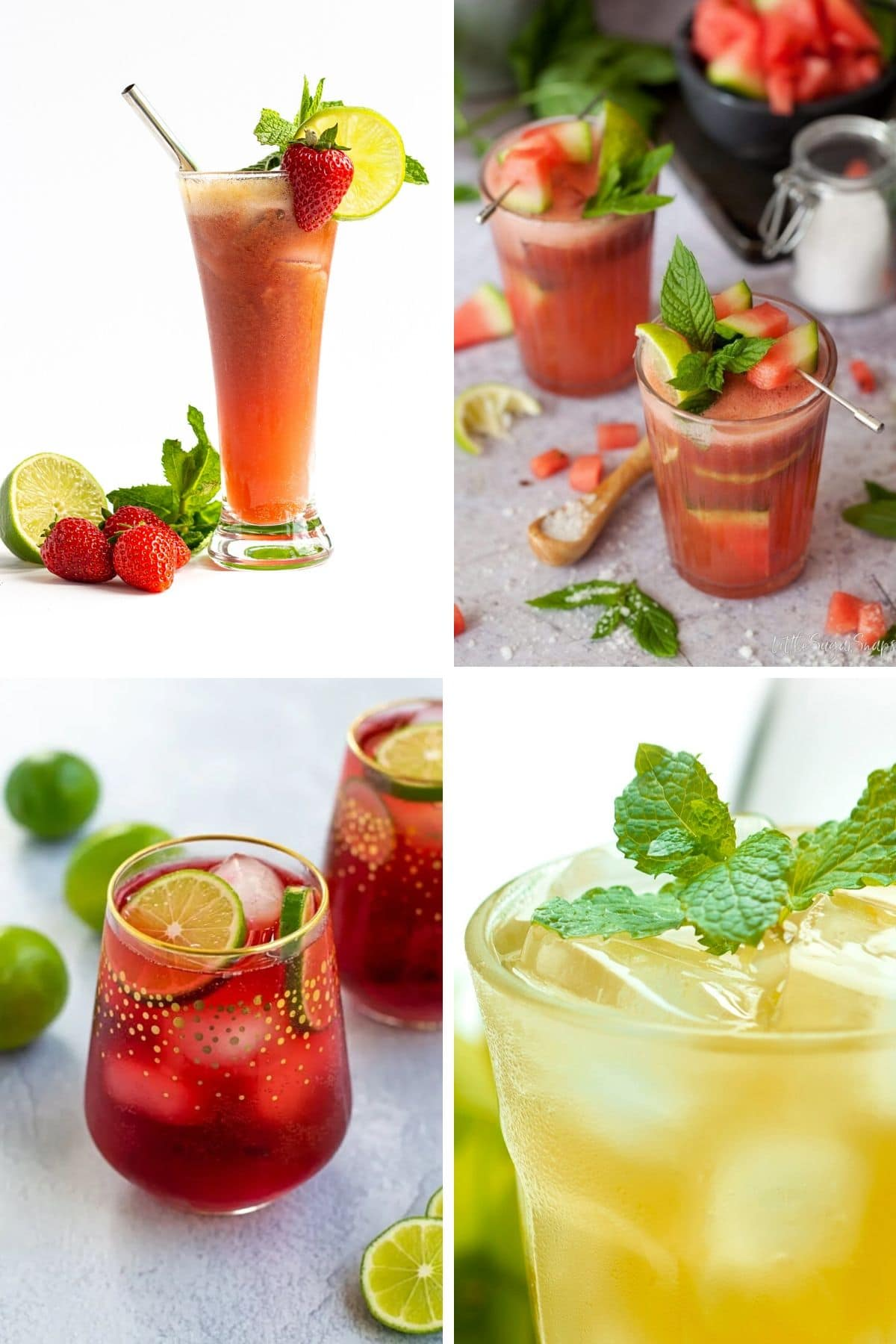 Collage of four summer mocktails.