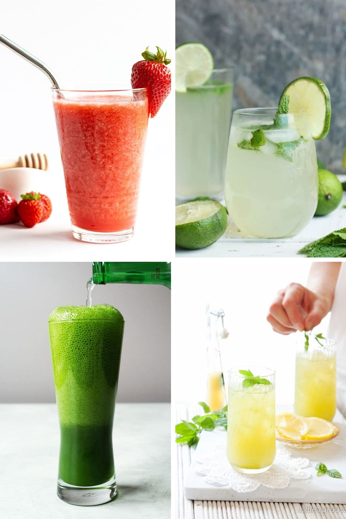 Collage of four non-alcoholic summer drinks.