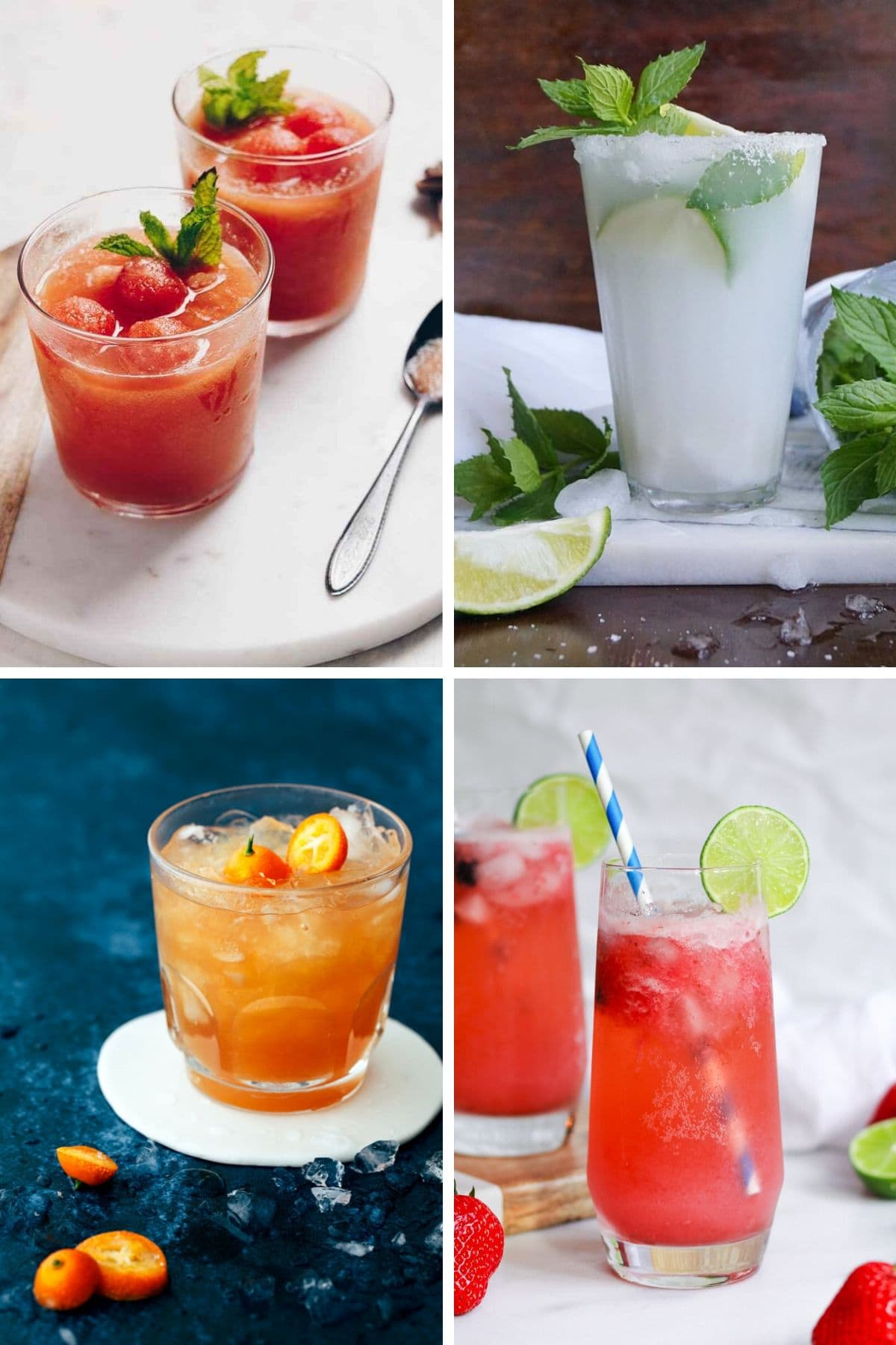 Collage of four mocktails.
