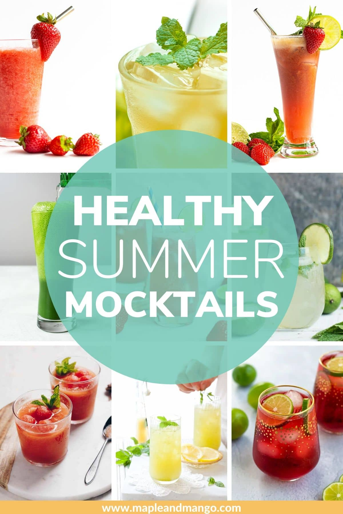 "Collage of summer mocktails with text overlay ""Healthy Summer Mocktails""."