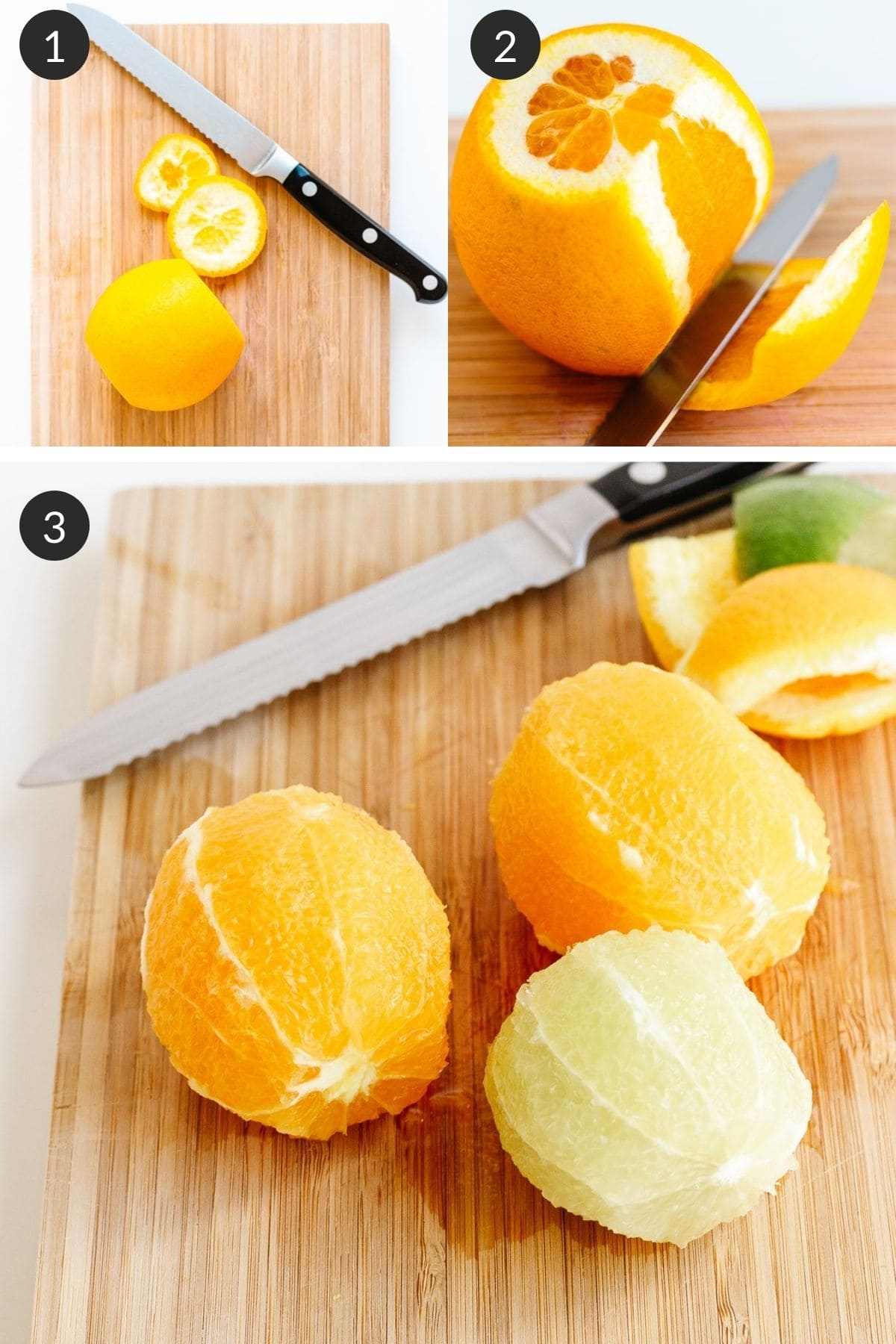 Photo collage showing how to de-pith citrus.