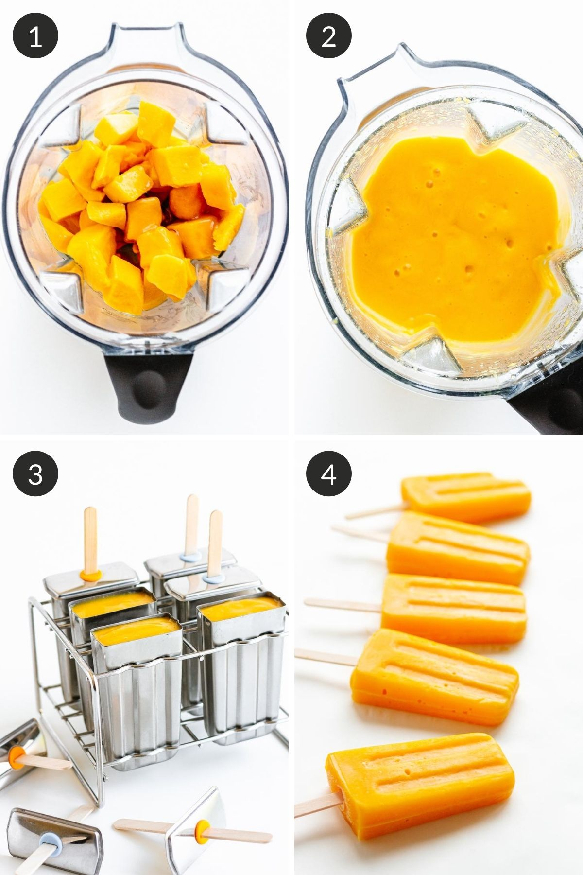 Photo collage showing step by step how to make mango popsicles.