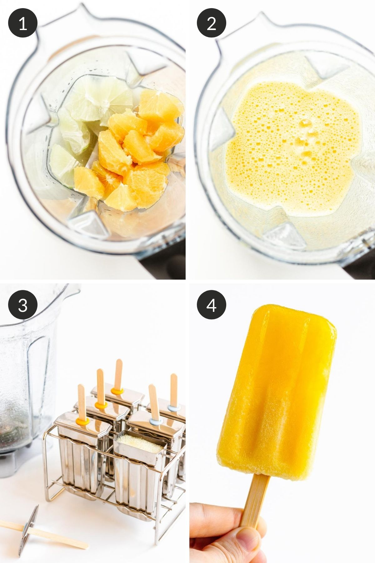 Photo collage showing how to make orange lemon lime popsicles step by step.