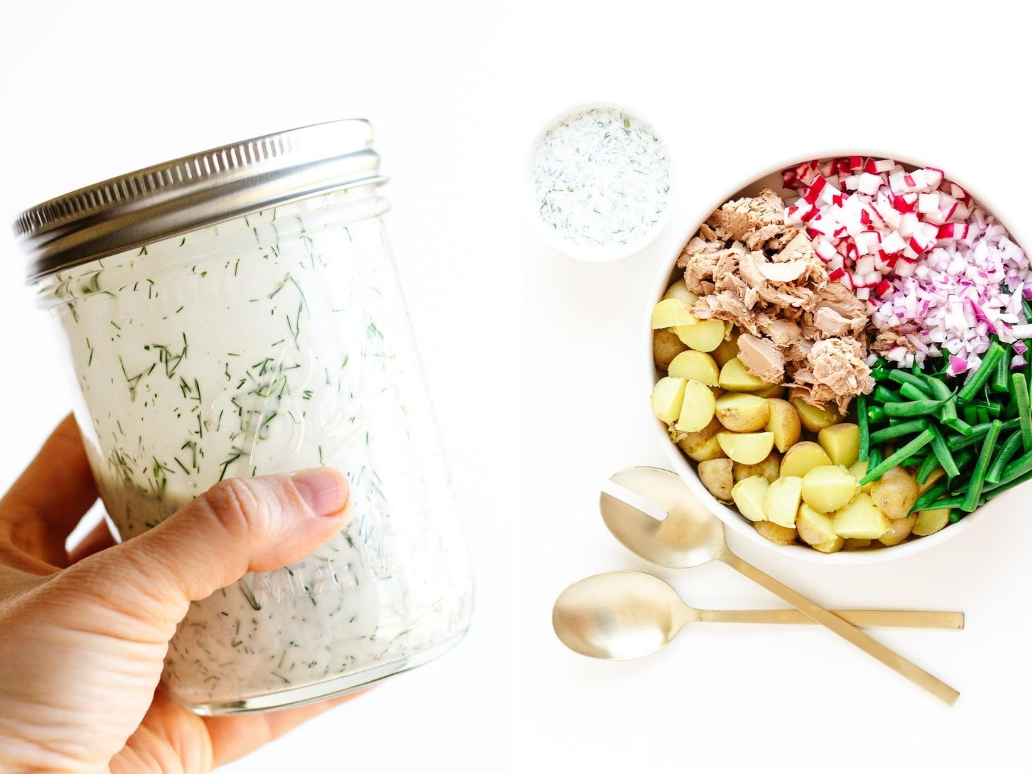 Collage of photos showing dill buttermilk dressing in a mason jar and overheard shot of tuna potato salad before it is mixed together.