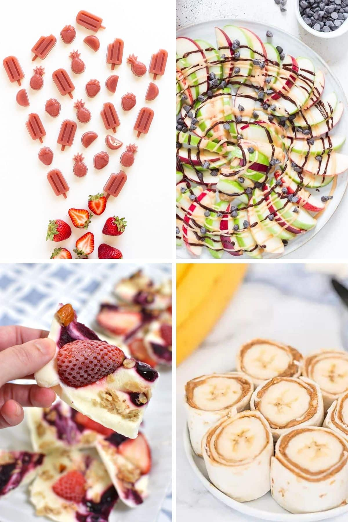 Collage of fun fruit based snacks for kids.