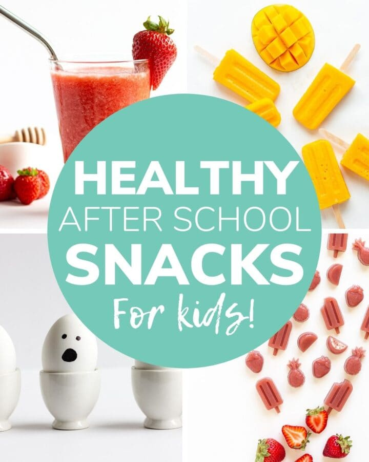 "Collage of four photos with text overlay ""Healthy After School Snacks For Kids"""