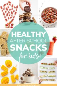 """Photo collage with text overlay """"Healthy After School Snacks For Kids"""""""