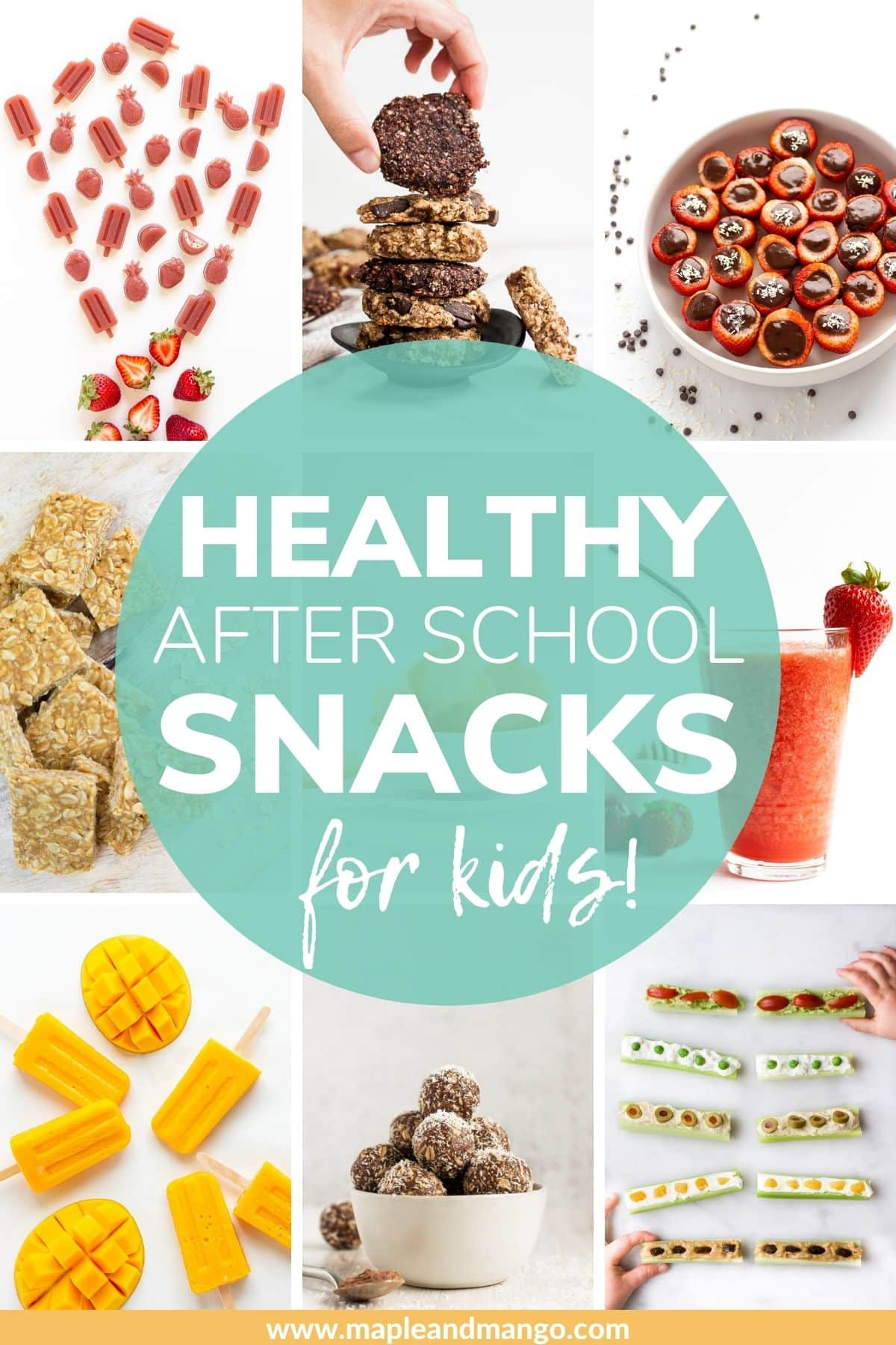 "Photo collage with text overlay ""Healthy After School Snacks For Kids"""