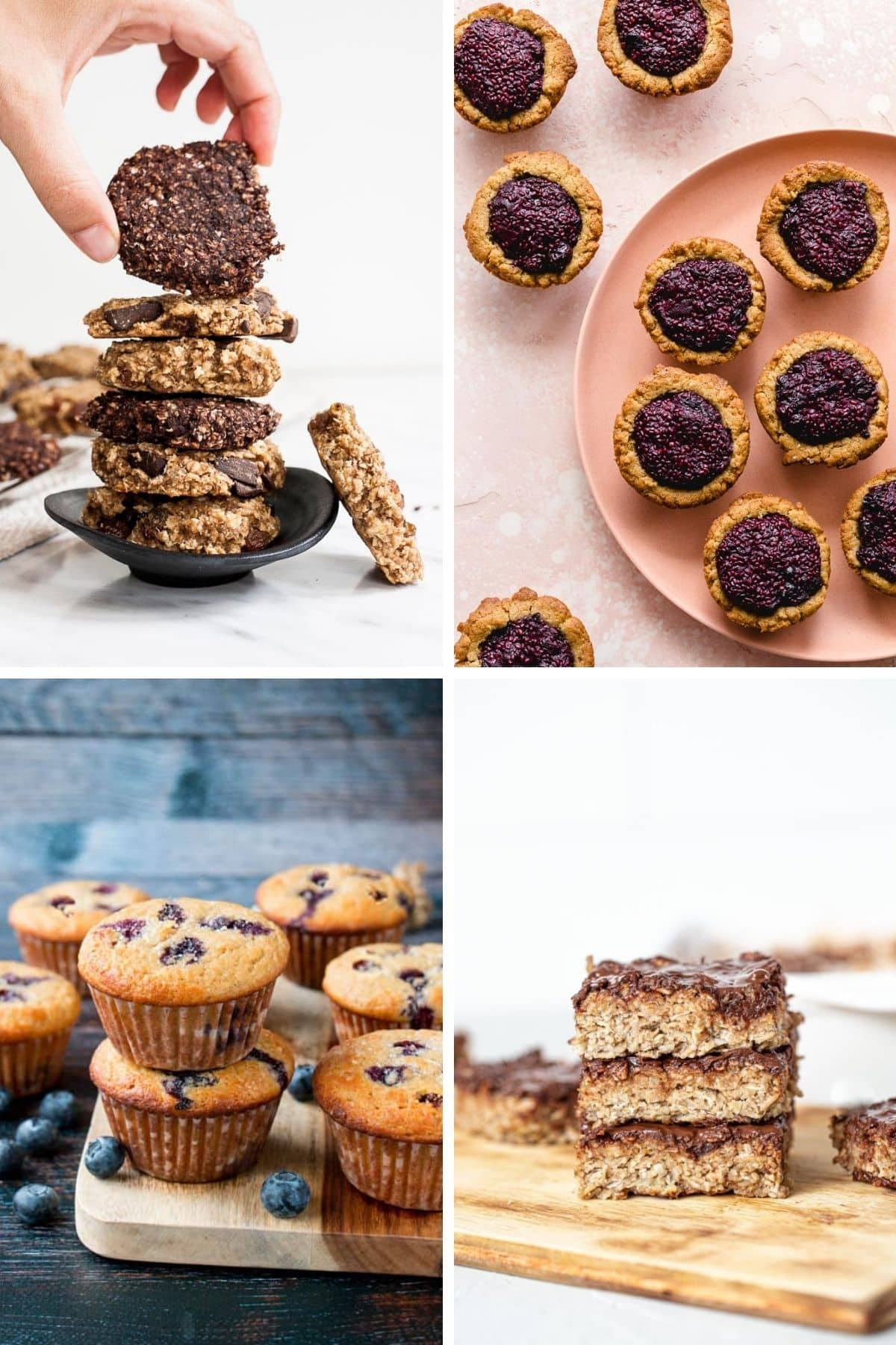 Collage of healthy muffins, cookies and bars.