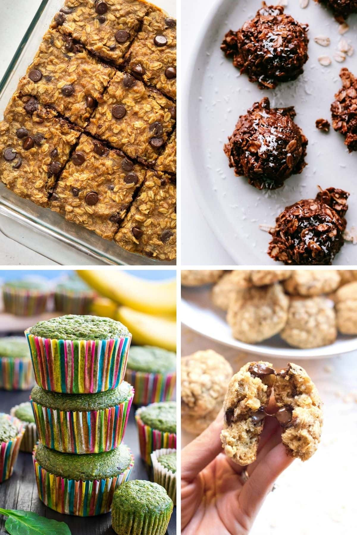 Collage of healthy cookies, bars and muffins.